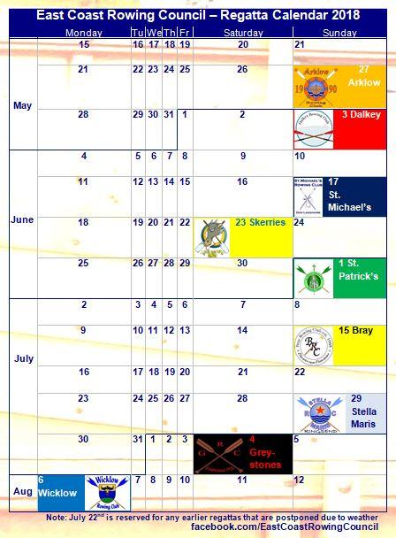 East Coast Regatta Calendar 2018